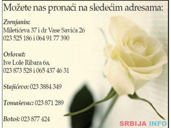 Pogrebna oprema i kamenorezacke usluge Zrenjanin
