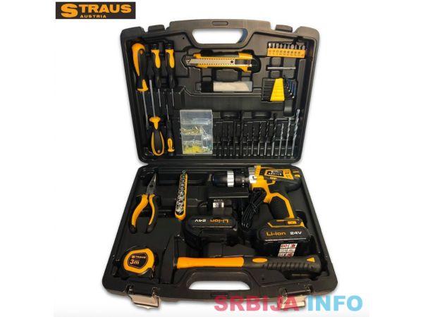 Aku bušilica Straus Austria 24V + 2 baterije i 150 dodataka