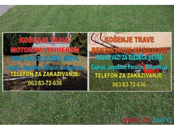 Košenje trave trimerom ili benzinskom motornom kosilicom