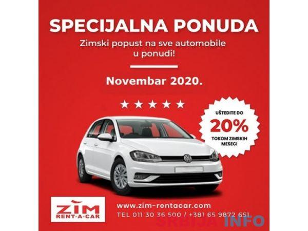 Rent a car Beograd ZIM, specijalna ponuda, zimske cene, neog